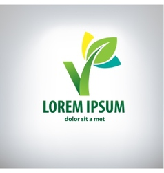 ecology logo - green design - growth vector image vector image