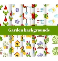 hand drawn garden icons background vector image