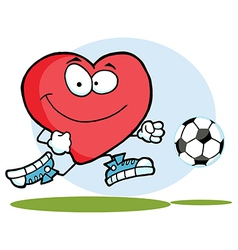 Red Heart Playing With Soccer Ball vector image vector image