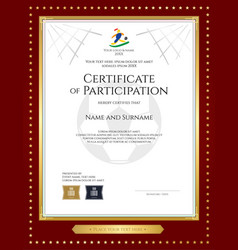 sport theme certificate of participation template vector image