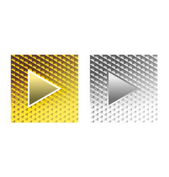 stylish glamor play buttons brilliant gold silver vector image