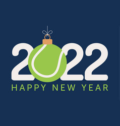 2022 happy new year tennis flat style sports vector
