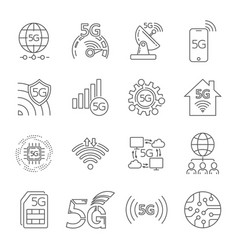 5g technology icons set outline set 5g vector image