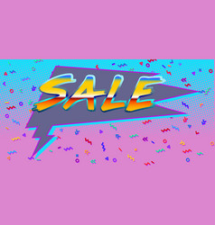 80s background sale comic bubble balloon vector image