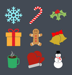 9 colorful winter holiday icons vector image