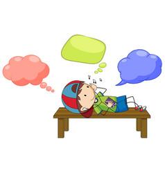 a boy with speech balloon vector image
