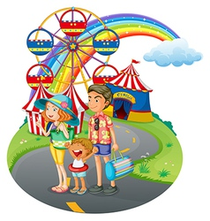 A family bonding at the carnival vector image