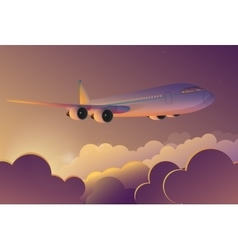 airplane flying in sky at sunrise airplane vector image