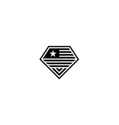 american flag with diamond logo design concept vector image
