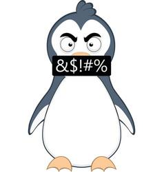 An angry cartoon penguin vector