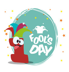 April fools day one number funny vector