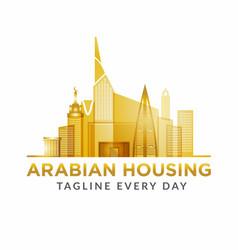 Arabian estate logo design template vector