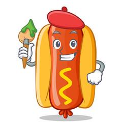 artist hot dog cartoon character vector image