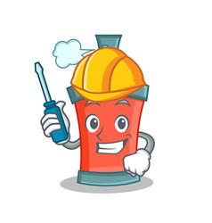Automotive aerosol spray can character cartoon vector