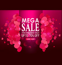 background valentines day sale offer red hearts vector image