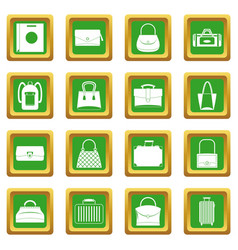 Bag baggage suitcase icons set green vector
