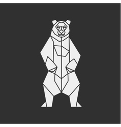 Bear of the contour lines polygons low poly vector image