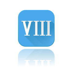 Blue icon with viii roman numeral with reflection vector