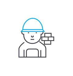brick mason thin line stroke icon brick vector image