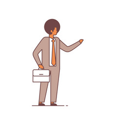 businessman hold briefcase point something vector image