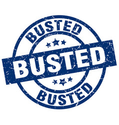 Busted blue round grunge stamp vector