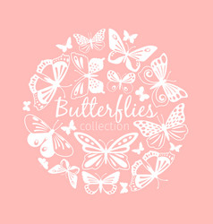 butterflies circle pattern vector image