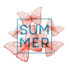 Butterflies Summer Stipple with vector image