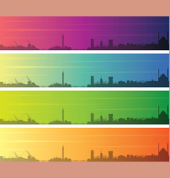 Cairo multiple color gradient skyline banner vector