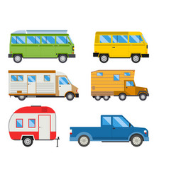Campers vacation travel car summer nature holiday vector