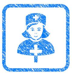 Catholic lady doctor framed stamp vector