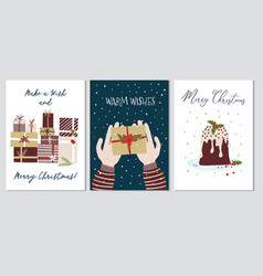 christmas and new year greeting cards collection vector image