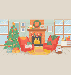 christmas living room interior new year home vector image