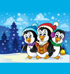christmas penguins theme image 2 vector image