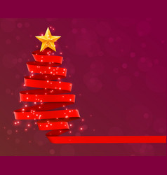 christmas tree made of red ribbon on red vector image