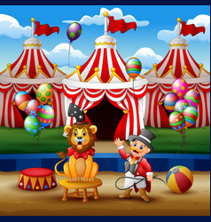 circus trainer performs a trick along with a lion vector image
