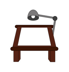 color image cartoon drawing table with lamp vector image