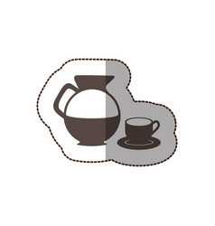 Contour water pitcher with coffee cup and plate vector