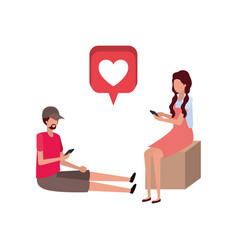 couple sitting with hearts avatar character vector image