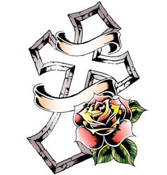Cross rose emblem vector