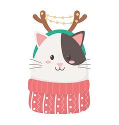 Cute cat with horns sweater celebration happy vector