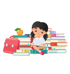 Cute little girl reading a books isolated vector