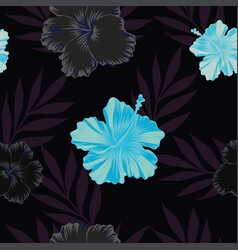 dark and blue hibiscus seamless pattern vector image