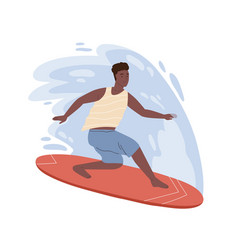 Dark skin male surfer standing on surfboard riding vector
