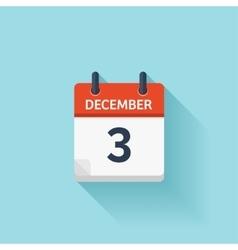 December 3 flat daily calendar icon Date vector