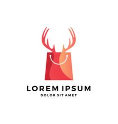 deer horn antler hunting hunter shop shopping bag vector image