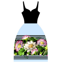 design dress with waterlily hand draw vector image