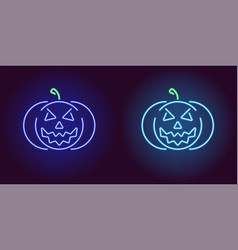 Evil neon pumpkin in blue and light blue color vector