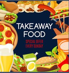 fast food snacks takeaway delivery menu vector image