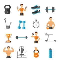 Fitness Flat Style Icons Set vector image