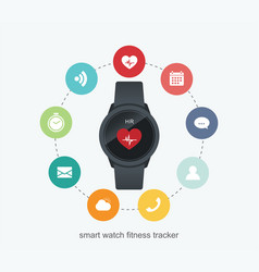 fitness tracker technology data with applications vector image